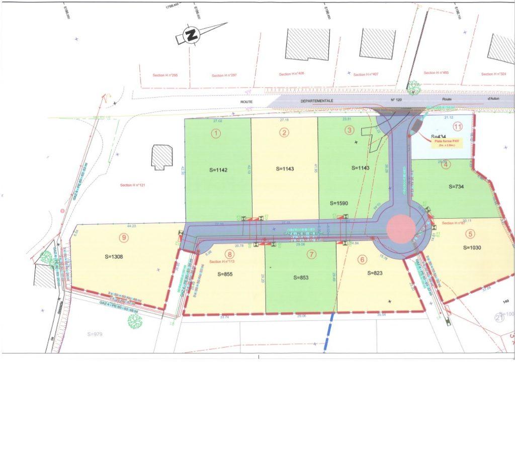 Le terrasses de la fontaine, plan des terrains à vendre à Broye
